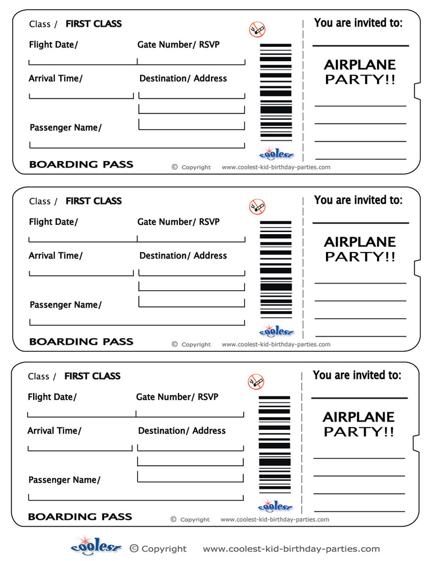Printable Airplane Boarding Pa