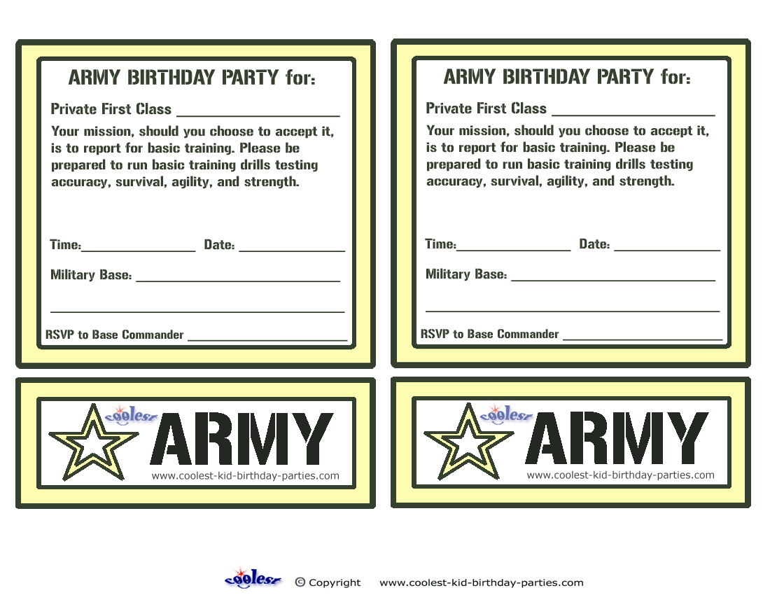 Free Army Birthday Party Invitation Template – orderecigsjuice.info