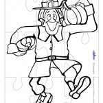 Printable B&W Pilgrim Large-Piece Puzzle