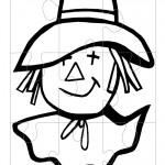 Printable B&W Scarecrow Face Large Puzzle