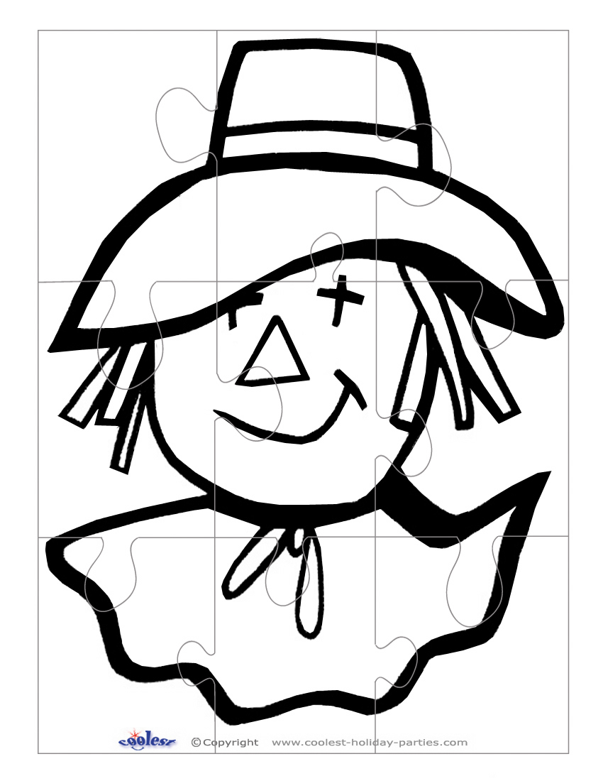 picture relating to Scarecrow Template Printable titled Printable BW Scarecrow Encounter Superior Puzzle