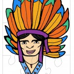 Printable Colored Indian Face 1 Large-Piece Puzzle