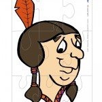 Printable Colored Indian Face 2 Large-Piece Puzzle