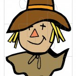 Printable Colored Scarecrow Face Large-Piece Puzzle