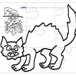 Printable B&W Cat Large-Piece Puzzle