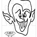Printable B&W Dracula Large-Piece Puzzle
