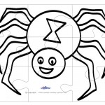 Printable B&W Spider Large-Piece Puzzle