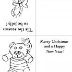 Printable Candy Cane / Bear Christmas Greeting Card