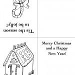 Printable Candy Cane / House Christmas Greeting Card