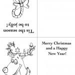 Printable Candy Cane / Reindeer Christmas Greeting Card