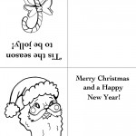 Printable Candy Cane / Santa Face Christmas Greeting Card