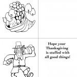 Printable B&W Cornucopia / Pilgrim Greeting Card