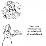 Printable B&W Cornucopia / Pilgrim Woman Greeting Card