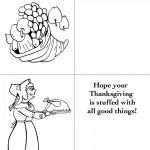 Printable B&W Cornucopia / Pilgrim Woman Greeting Card