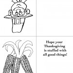 Printable B&W Pilgrim 1 / Wild Corn Greeting Card
