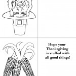 Printable B&W Pilgrim 2 / Wild Corn Greeting Card