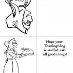 Printable B&W Pilgrim 3 / Pilgrim Woman Greeting Card