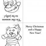 Printable Santa Face / Bear Christmas Greeting Card