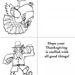 Printable B&W Turkey 1 / Pilgrim Greeting Card