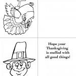Printable B&W Turkey 1 / Pilgrim 1 Greeting Card