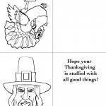 Printable B&W Turkey 1 / Pilgrim 2 Greeting Card