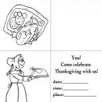 Printable B&W Turkey 1 / Pilgrim Woman Invitation
