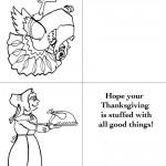Printable B&W Turkey 1 / Pilgrim Woman Greeting Card