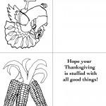 Printable B&W Turkey 1 / Wild Corn Greeting Card