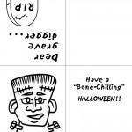 Printable B&W Frankenstein Greeting Card