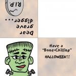 Printable Colored Frankenstein Greeting Card