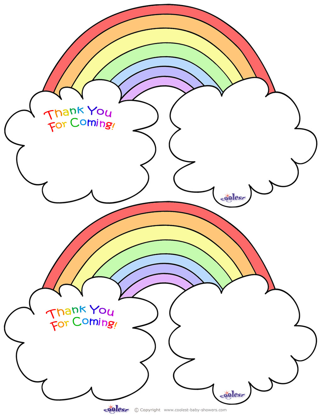 Worded Printable Rainbow Thank You Cards