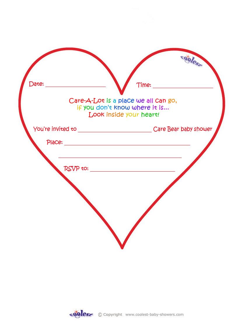 care bears baby shower heart shaped invitation
