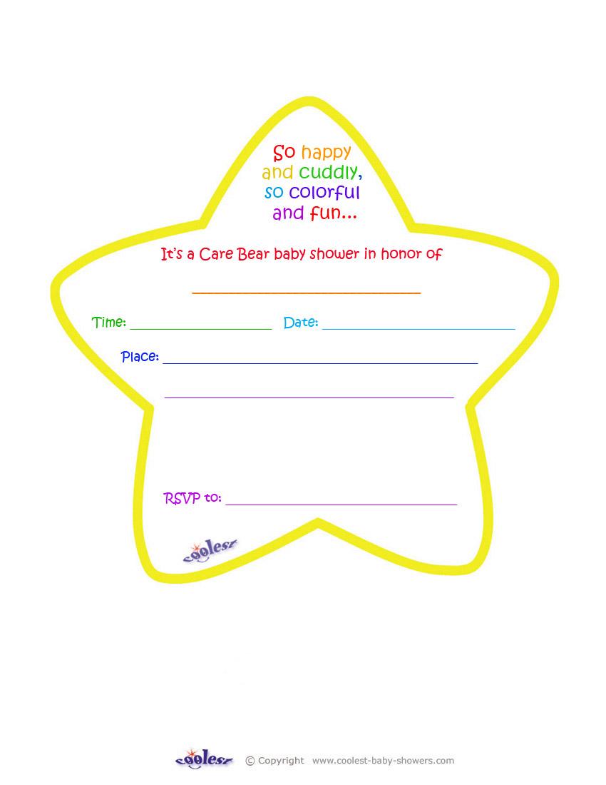 Care Bears Baby Shower Yellow Star Invitation