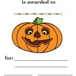 Printable Colored Pumpkin 1 Certificate