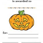 Printable Colored Pumpkin 2 Certificate