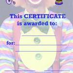 Printable Circus Certificate 1