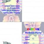 Printable Circus Foldable Invitation 1