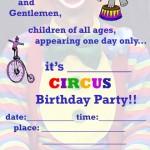 Printable Circus A5 Invitation 1