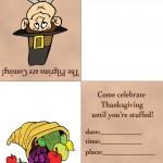 Printable Colored Pilgrim 1 / Cornucopia Invitation
