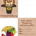 Printable Colored Pilgrim 2 / Cornucopia Invitation