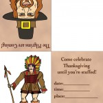 Printable Colored Pilgrim 2 / Indian Invitation