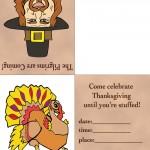 Printable Colored Pilgrim 2 / Turkey 1 Invitation