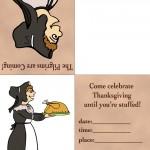 Printable Colored Pilgrim Woman Invitation