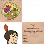 Printable Colored Turkey 1 / Indian Face 2 Invitation