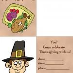 Printable Colored Turkey 1 / Pilgrim 1 Invitation