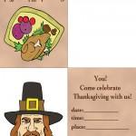 Printable Colored Turkey 1 / Pilgrim 2 Invitation