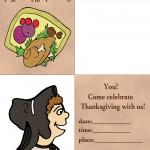 Printable Colored Turkey 1 / Pilgrim 3 Invitation