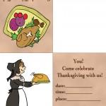 Printable Colored Turkey 1 / Pilgrim Woman Invitation