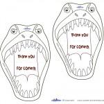 Printable T Rex Dino Thank You