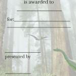 Printable Dinosaur Certificate